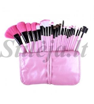24 rožiniai makiažo šepetėliai su dėklu