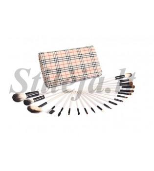 20 makiažo šepetėlių dryžuotu dėklu MS002