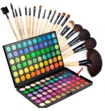 120 spalvų akių šešėlių paletė + 19 makiažo šepetėlių rinkinys su dėklu
