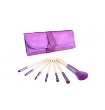 7 makiažo šepetėliai purpuriniu dėklu MS011
