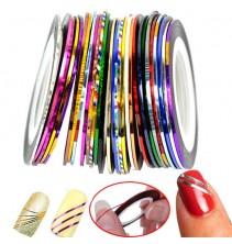 10 spalvotų lipnių juostelių nagams ND001