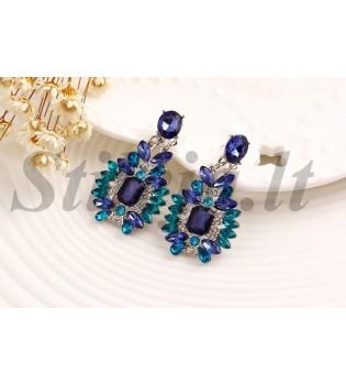 "Auskarai ""Mėlynas kristalas"" AU059"