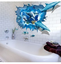 Sienų lipdukas Delfinai 3D