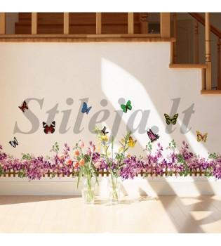 Sienų lipdukas Purpurinė tvorelė su gėlėmis