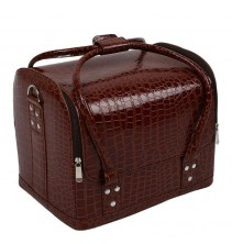 Rudas krokodilo rašto imitacijos profesionalus kosmetikos lagaminas 003