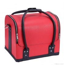 Raudonas profesionalus kosmetikos lagaminas 008