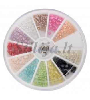 12 spalvų nagų dekoravimo perliukų