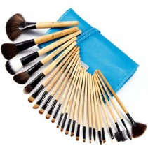 24 makiažo šepetėliai mėlynu dėklu