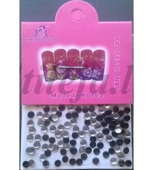 Juodos spalvos kniedės nagams dekoruoti ND085