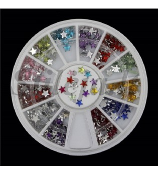 12 spalvų nagų dekoravimo žvaigždučių rinkinys