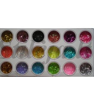 18 indelių spalvotų kvadratinių blizgučių ND007