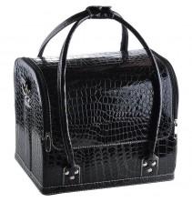 Juodas krokodilo rašto kosmetikos lagaminas 001