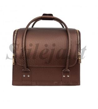 Rudas dryžuotas profesionalus kosmetikos lagaminas 002