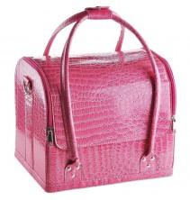 Rožinis profesionalus krokodilo odos imitacijos kosmetikos lagaminas 009