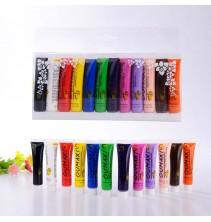 12 spalvų akrilo dažų rinkinys ND014
